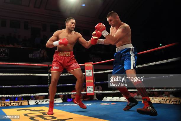 Joe Joyce in action with Ivica Bacurin during the Commonwealth Heavyweight Title fight between Joe Joyce and Ivica Bacurin at York Hall on June 15...