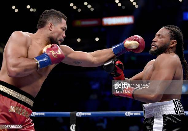 Joe Joyce jabs at Joe Hanks during a first round knockout win by Joyce during a WBA Continental Heavyweight bout at Staples Center on December 1 2018...