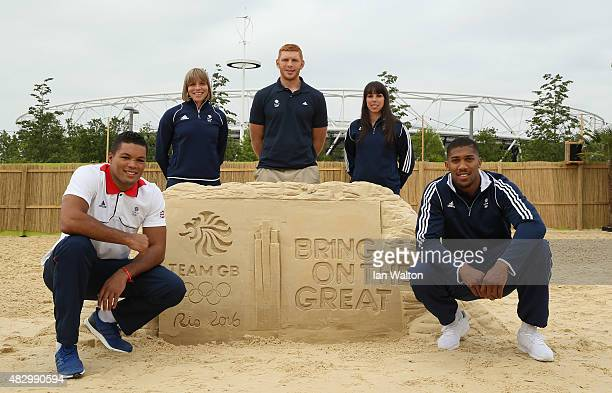 Joe Joyce Kate Richardson Walsh James Rodwell Beth Tweddle and Anthony Joshua pose for photographers to celebrate one year to go until the Rio 2016...