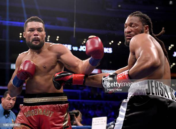 Joe Joyce knocks out Joe Hanks in the first round during a WBA Continental Heavyweight bout at Staples Center on December 1 2018 in Los Angeles...