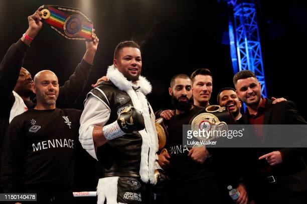 Joe Joyce MBE celebrates beating Alexander Ustinov during the International Heavyweight Contest at The Lamex Stadium on May 18 2019 in Stevenage...