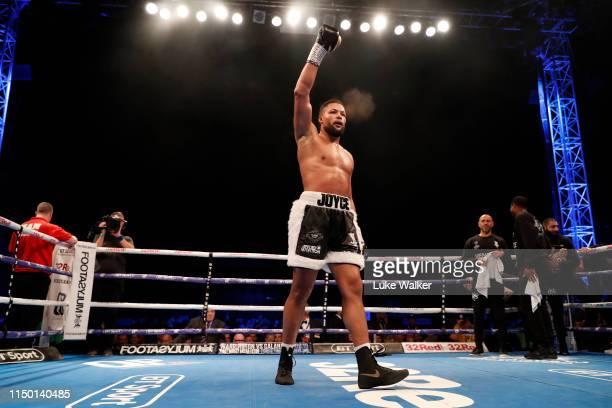 Joe Joyce MBE celebrates beating Alexander Ustinov during the International Heavyweight Contest at The Lamex Stadium on May 18 2019 in Stevenage...