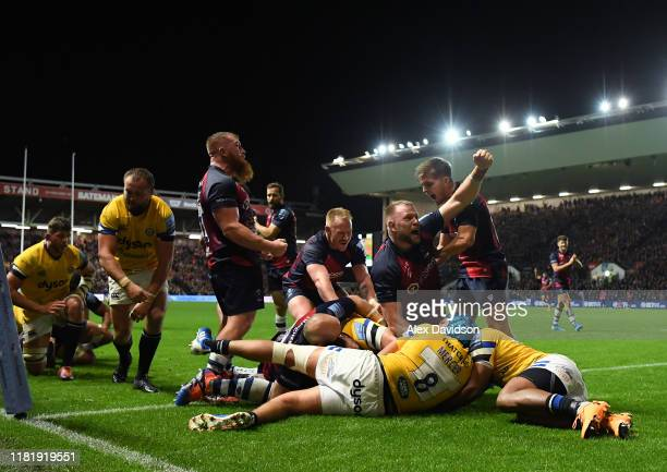 Joe Joyce of Bristol Bears celebrates his John Afoa's and his sides fifth try during the Gallagher Premiership Rugby match between Bristol Bears and...