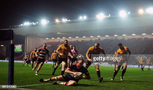 Joe Joyce of Bristol Rugby goes over for a try during the Greene King IPA Championship match between Bristol Rugby and Cornish Pirates at Ashton Gate...