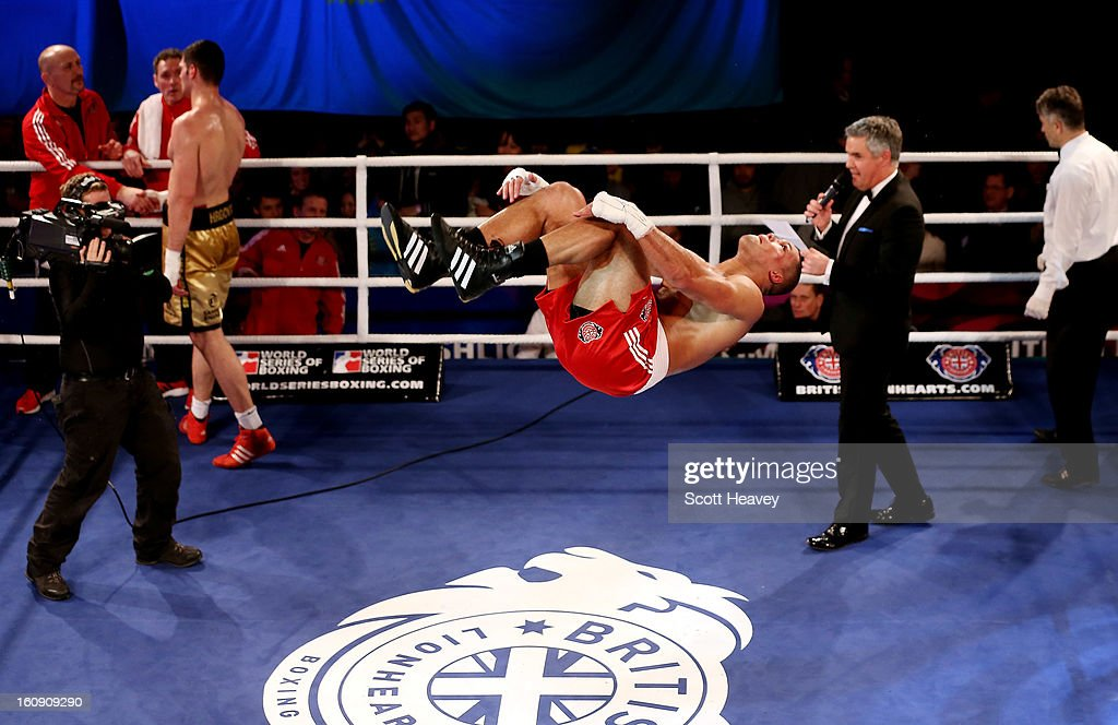 Joe Joyce of British Lionhearts celebrates his victory over Filip Hrgovic of Astana Arlans Kazakhstan during their 91KG+ bout during the World Series of Boxing between British Lionhearts and Astana Arlans Kazakhstan on February 7, 2013 in London, England.