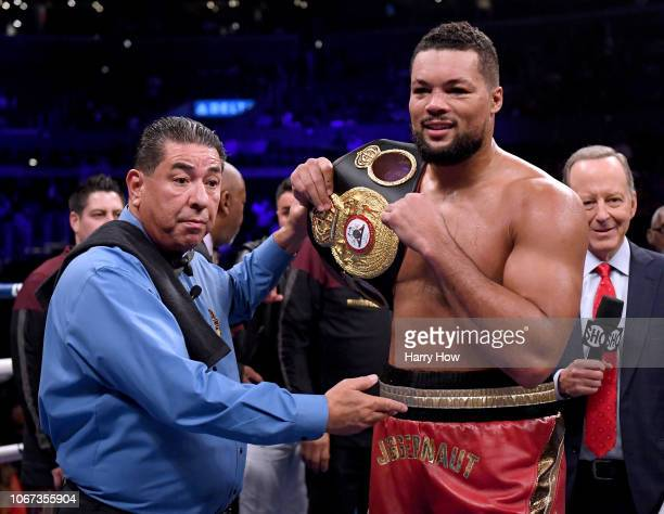 Joe Joyce poses after his first round knockout of Joe Hanks during a WBA Continental Heavyweight bout at Staples Center on December 1 2018 in Los...