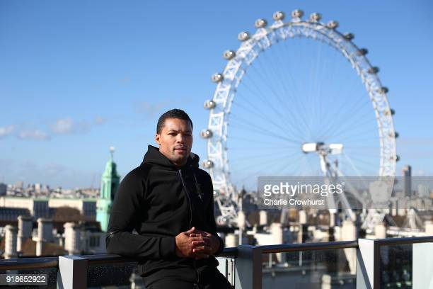Joe Joyce poses for a photo on a balcony overlooking London during the Joe Joyce v Rudolf Jozic weigh in at Park Plaza Hotel on February 15 2018 in...