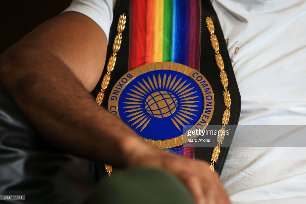 Joe Joyce poses with his belt during a Joe Joyce & Richard Lartey Press Conference on June 13, 2018 in London, England.