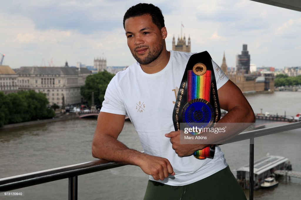 Joe Joyce poses with his belt overlooking the River Thames during a Joe Joyce & Richard Lartey Press Conference on June 13, 2018 in London, England.