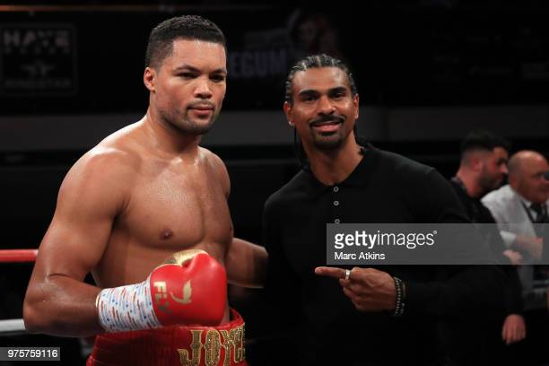Joe Joyce poses with promotor David Haye after his victory during the Commonwealth Heavyweight Title fight between Joe Joyce and Ivica Bacurin at...
