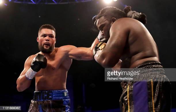 Joe Joyce punches Bermane Stiverne during the Commonwealth Heavyweight Tite fight between Joe Joyce and Bermane Stiverne at The O2 Arena on February...