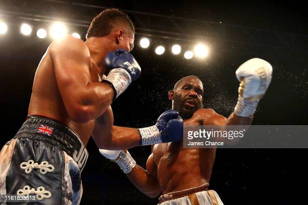 Joe Joyce punches Bryant Jennings during the Heavyweight fight between Joe Joyce and Bryant Jennings at The O2 Arena on July 13 2019 in London England