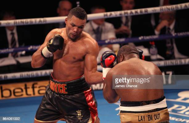 Joe Joyce punches Ian Lewison during the Heavyweight fight between Joe Joyce and Ian Lewison at The O2 Arena on October 20 2017 in London England