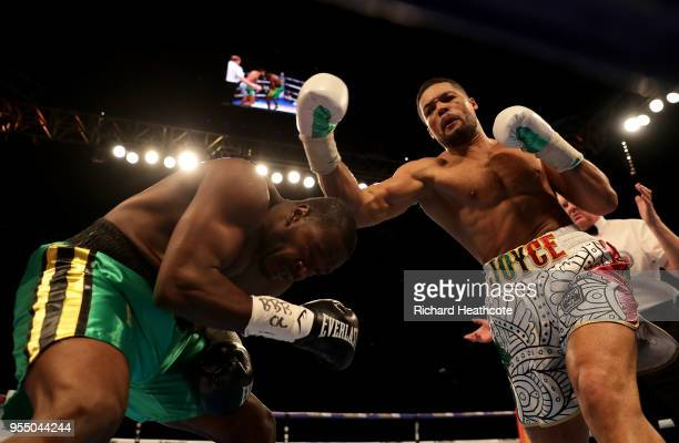 Joe Joyce punches Lenroy Thomas during the Commonwealth Heavyweight Title fight between Lenroy Thomas and Joe Joyce at The O2 Arena on May 5 2018 in...