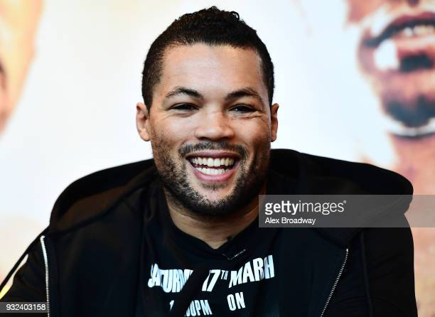 Joe Joyce talks during a press conference at Chino Latino Park Plaza Riverbank on March 15 2018 in London England The Double Header Fight Night...
