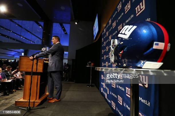 Joe Judge talks after being introduced introduced as the new head coach of the New York Giants during a news conference at MetLife Stadium on January...