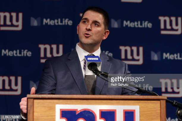 Joe Judge talks to the media after he was introduced as the new head coach of the New York Giants during a news conference at MetLife Stadium on...