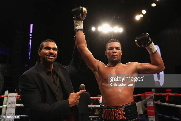 Joe Juggernaut Joyce celebrates his victory over Ian Lewison in the Heavyweight Fight with David haye during the Hayemaker Ringstar Fight Night at O2...