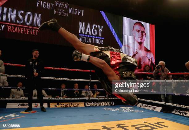 Joe Juggernaut Joyce celebrates his victory over Ian Lewison with a flip in the Heavyweight Fight during the Hayemaker Ringstar Fight Night at O2...