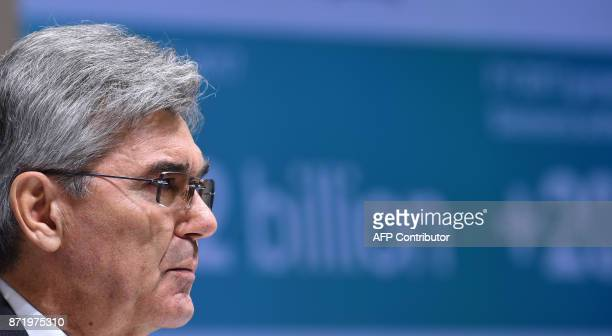 Joe Kaeser CEO of German industrial conglomerate Siemens looks on during the annual results press conference on November 9 2017 in Munich southern...