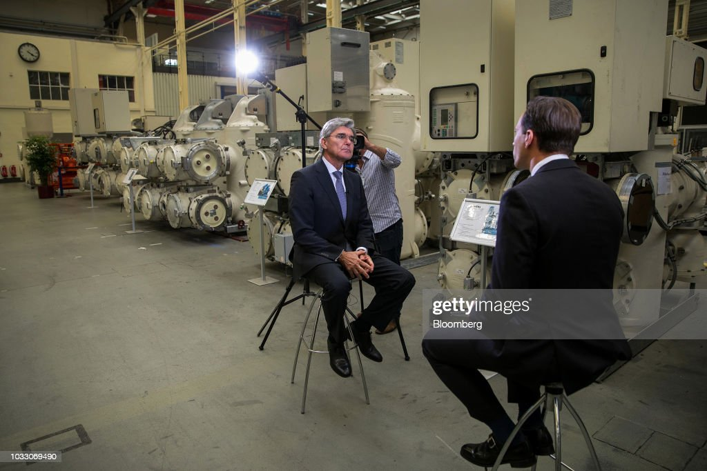 Joe Kaeser, chief executive officer of Siemens AG, pauses during a