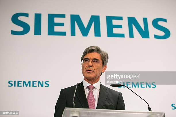 Joe Kaeser chief executive officer of Siemens AG speaks during a news conference as the company announce their secondquarter results in Berlin...