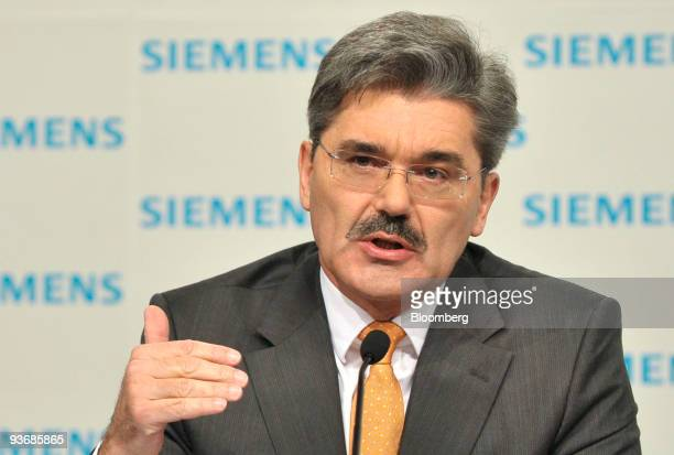Joe Kaeser chief financal officer of Siemens AG gestures while speaking during a news conference in Munich Germany on Thursday Dec 3 2009 Siemens AG...
