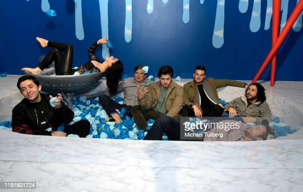 Joe Kaprelian actress Ariel Winter Chris Galya Justin Friedlander Alexander Morales and Luke Benward attend the VIP opening night for the Dumpling...