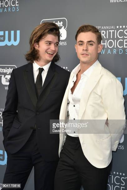 Joe Keery and Dacre Montgomery attend The 23rd Annual Critics' Choice Awards Arrivals at The Barker Hanger on January 11 2018 in Santa Monica...