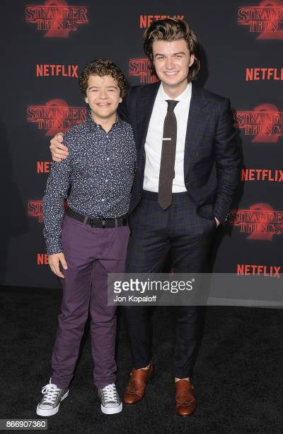 Joe Keery and Gaten Matarazzo arrive at the premiere of Netflix's 'Stranger Things' Season 2 at Regency Bruin Theatre on October 26 2017 in Los...