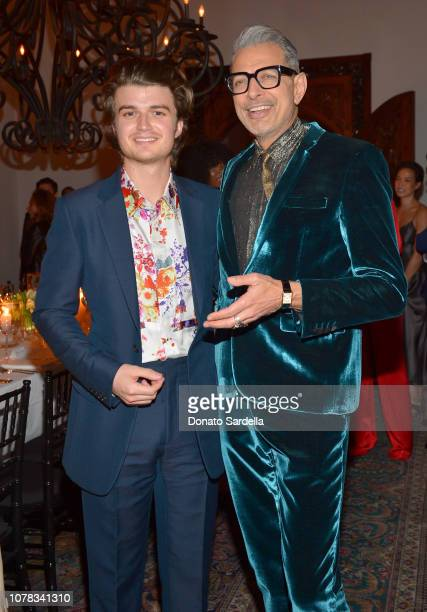 Joe Keery and Jeff Goldblum attend a private dinner hosted by GQ and Dior in celebration of the 2018 GQ Men Of The Year Party on December 06 2018 in...