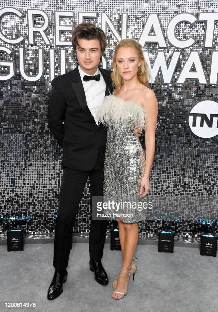 Joe Keery and Maika Monroe attend the 26th Annual Screen Actors Guild Awards at The Shrine Auditorium on January 19, 2020 in Los Angeles, California.
