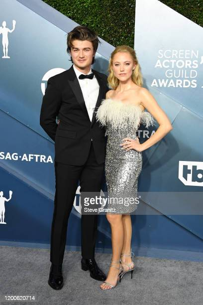 Joe Keery and Maika Monroe attend the 26th Annual Screen ActorsGuild Awards at The Shrine Auditorium on January 19 2020 in Los Angeles California