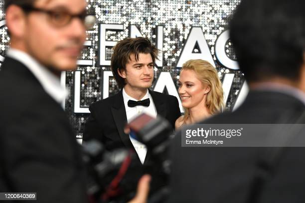 Joe Keery and Maika Monroe attend the 26th Annual Screen ActorsGuild Awards at The Shrine Auditorium on January 19 2020 in Los Angeles California...