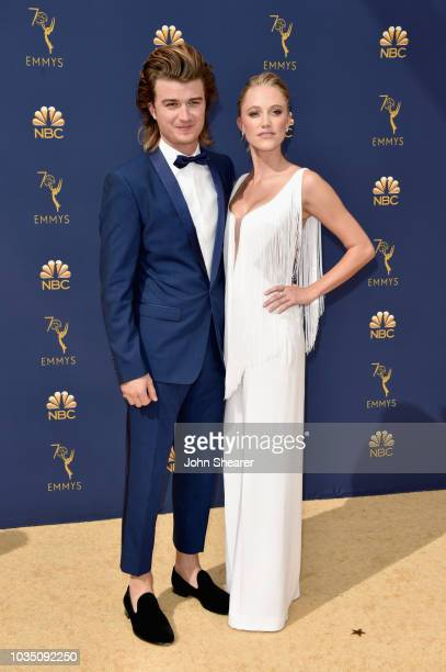 Joe Keery and Maika Monroe attend the 70th Emmy Awards at Microsoft Theater on September 17 2018 in Los Angeles California