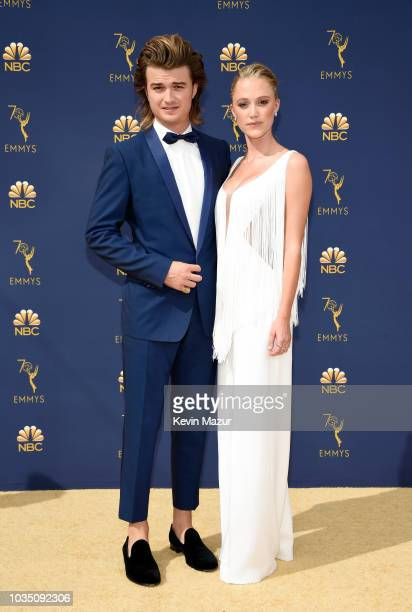 Joe Keery and Maika Monroe attend the 70th Emmy Awards at Microsoft Theater on September 17, 2018 in Los Angeles, California.