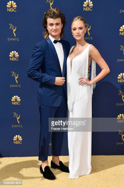 Joe Keery and Maika Monroe attends the 70th Emmy Awards at Microsoft Theater on September 17 2018 in Los Angeles California