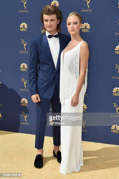 Joe Keery and Maika Monroe attends the 70th Emmy Awards at Microsoft Theater on September 17, 2018 in Los Angeles, California.