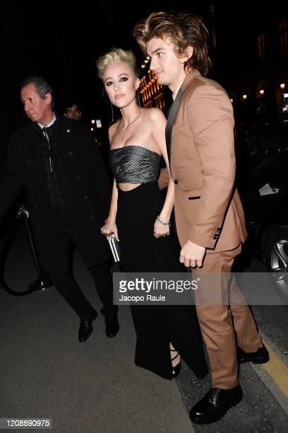 Joe Keery and Maika Monroe attends the Harper's Bazaar Exhibition as part of the Paris Fashion Week Womenswear Fall/Winter 2020/2021 At Musee Des...