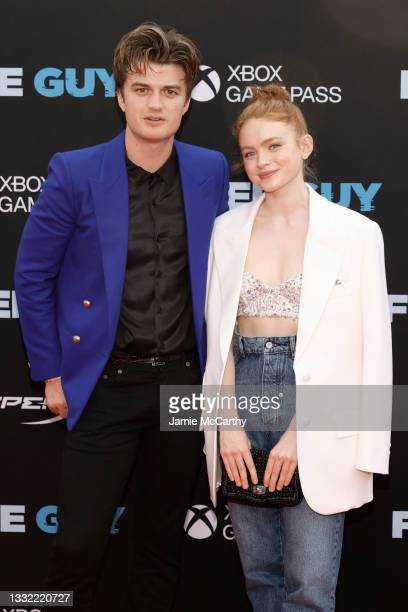 """Joe Keery and Sadie Sink attend the """"Free Guy"""" New York Premiere at AMC Lincoln Square Theater on August 03, 2021 in New York City."""