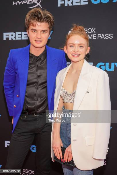 Joe Keery and Sadie Sink attend the World Premiere of 20th Century Studios' Free Guy on August 03, 2021 in New York City.