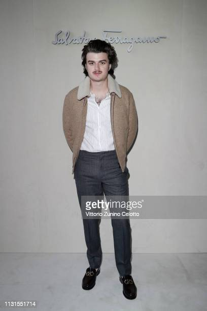 Joe Keery attend the Salvatore Ferragamo show during Milan Fashion Week Autumn/Winter 2019/20 on February 23 2019 in Milan Italy