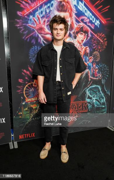 """Joe Keery attends a photocall for Netflix's """"Stranger Things"""" Season 3 at Linwood Dunn Theater at the Pickford Center for Motion Study on November..."""