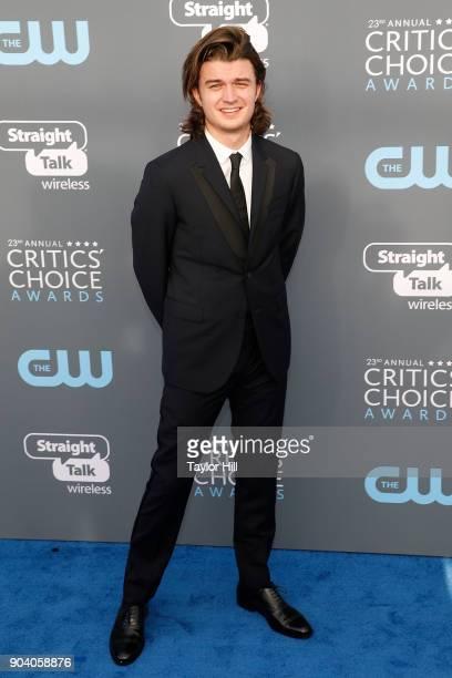 Joe Keery attends the 23rd Annual Critics' Choice Awards at Barker Hangar on January 11 2018 in Santa Monica California