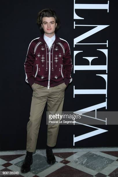 Joe Keery attends the Valentino Menswear Fall/Winter 20182019 show as part of Paris Fashion Week on January 17 2018 in Paris France