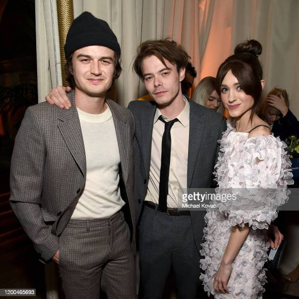 Joe Keery Charlie Heaton and Natalia Dyer are seen as Entertainment Weekly Celebrates Screen Actors Guild Award Nominees at Chateau Marmont on...