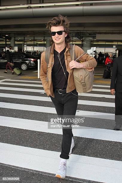 Joe Keery is seen at LAX on January 27 2017 in Los Angeles California