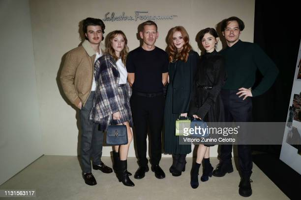 Joe Keery Maika Monroe Paul Andrew Abigail Cowen Natalia Daier and Charlie Heaton attend the Salvatore Ferragamo show during Milan Fashion Week...