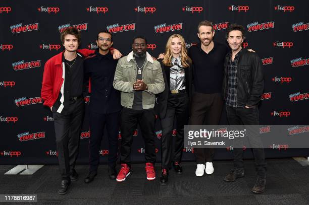 Joe Keery Utkarsh Ambudkar Lil Rel Howery Jodie Comer Ryan Reynolds and Shawn Levy attend New York Comic Con in support of Free Guy at The Jacob K...