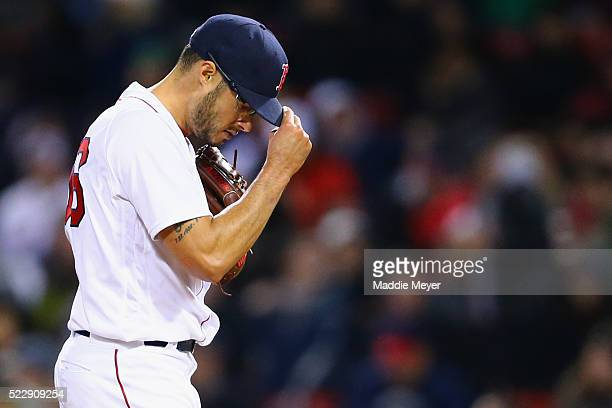 Joe Kelly of the Boston Red Sox pitches against the Baltimore Orioles during the fourth inning at Fenway Park on April 13 2016 in Boston Massachusetts